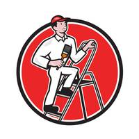 House Painter Paintbrush on Ladder Cartoon