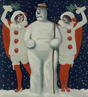 Vintage Christmas Snowman and Ladies