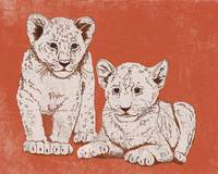 Lion Cubs in Red