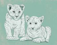 Lion Cubs in Mint Green