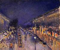 Camille Pissarroi The Boulevard Montmartre At Nigh