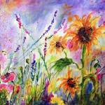 """""""Sunflowers and Bees Pink Poppies Wildflowers"""" by GinetteCallaway"""