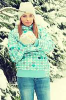 Beautiful young caucasian winter woman