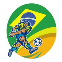 Brasil 2014 Football Player Kicking Retro
