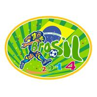 Brasil 2014 Soccer Football Player Oval Retro
