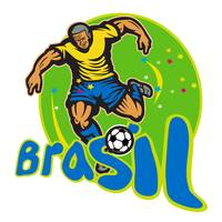 Brazil Football Player Kicking Ball Retro