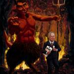 """Tony Blair in Hell with Devil and holding Weapons"" by martindavey"