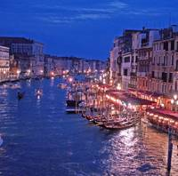 Canale Grande view of Rialto bridge at night