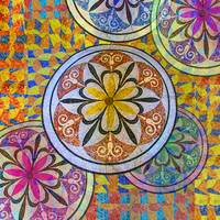 Rainbow Mosaic Circles and Flowers