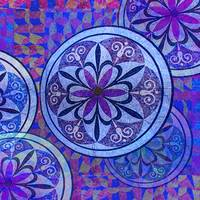 Blue Mosaic Circles and Flowers