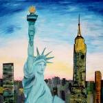 """Statue of Liberty with view of NEW YORK"" by arthop77"