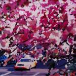 """Cab And Flower Trees In New York City"" by arthop77"