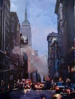 New York Street Scene with Empire State Building