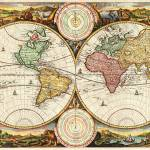"""Antique World Map Two Hemispheres Rare Vintage Art"" by masterpiecesofart"