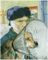 Self-Portrait with Bandaged Ear and Coned Dog