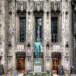"""""Nathan Hale"" Entrance to Tribune Tower"" by johndecember"