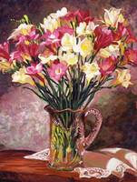FREESIAS IN CRYSTAL PITCHER