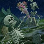 """Romantic Valentine Skeletons in Graveyard"" by martindavey"