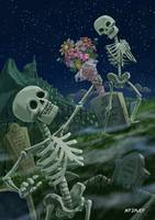 Romantic Valentine Skeletons in Graveyard