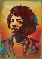 Jimi Hendrix pop art sketch poster