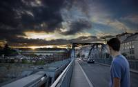 Boy on Industrial Bridge