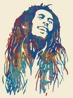 Bob Marley etching pop art poster