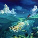 """Caribbean Seascape with Tarpon & Shark - ""A Place"" by Savlen"