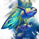 """""""Mako Shark and Bluefin Tuna Illustration"""" by Savlen"""