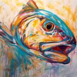 """""""Red Drum - Expressionist Redfish Art"""" by Savlen"""