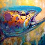"""Rainbow Trout Contemporary Fish Art - Fire From Wa"" by Savlen"