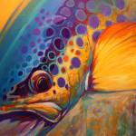 """Brown Trout Fish Art Painting - River Orchid"" by Savlen"