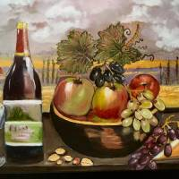 """CBottle of wine with fruit"" by Arlen Avernian Thorensen"