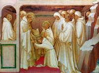 Lorenzo Monaco - Saint Benedict admitting Saints i