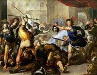 Luca Giordano - Perseus turning Phineas and his Fo
