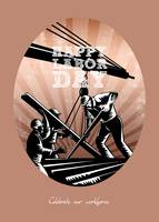 Happy Labor Day Celebration Retro Greeting Card