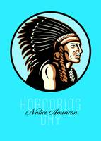 Honoring Native American Day Retro Greeting Card