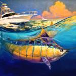 """Marlin Fish & Sportfishing Yacht Art - ""Cabo 44 Ex"" by Savlen"