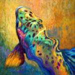"""Trout Fish Wildlife Painting - Waiting Patiently"" by Savlen"
