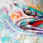 """Steelhead Fish Expressionist Art - ""Vanishing Nati"" by Savlen"