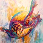 """""""Marine Wildlife Art - """"Expressionist Hawksbill Sea"""" by Savlen"""