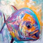 """Permit Fly Fishing Art Print - ""Expressionist Perm"" by Savlen"