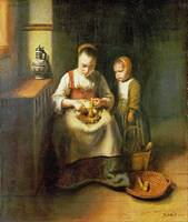 Nicolaes Maes - A Woman scraping Parsnips, with a