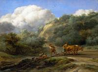 Nicolaes Berchem - A Man and a Youth ploughing wit