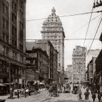"""View up 3rd from Mission to Market, San Francisco"" by worldwidearchive"