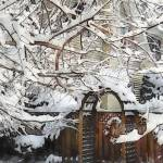 """Garden Gate in Winter"" by susansartgallery"