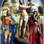 """Ortolano - Saints Sebastian, Roch and Demetrius"" by ArtLoversOnline"