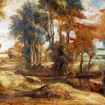 """Peter Paul Rubens - A Wagon fording a Stream"" by ArtLoversOnline"
