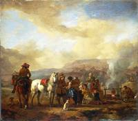 Philips Wouwermans - Two Horsemen at a Gipsy Encam