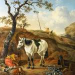 """Pieter Verbeeck - A White Horse standing by a Slee"" by ArtLoversOnline"