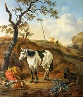 Pieter Verbeeck - A White Horse standing by a Slee
